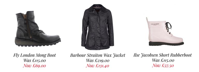 Great Offers on Fly London, Barbour and Ilse Jacobsen