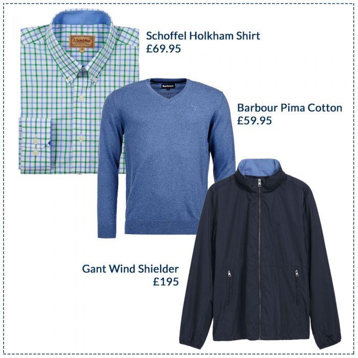 Schoffel Holkham Shirt £69.95, Barbour Pima Cotton £59.95, GANT Wind Shielder £195