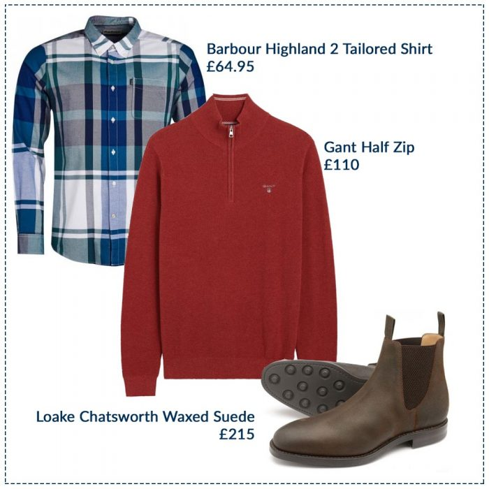 Barbour Highland 2 Tailored Shirt £64.95, GANT Half Zip £110, Loake Chatsworth Waxed Suede £215