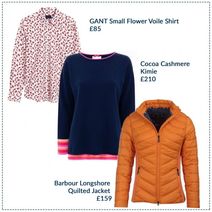 GANT Small Flower Voile Shirt £85, Cocoa Cashmere Kimie £210, Barbour Longshore Quilted Jacket £159