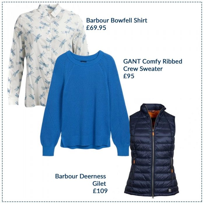 Barbour Bowfell Shirt £69.95, GANT Comfy Ribbed Crew Sweater £95, Barbour Deerness Gilet £109