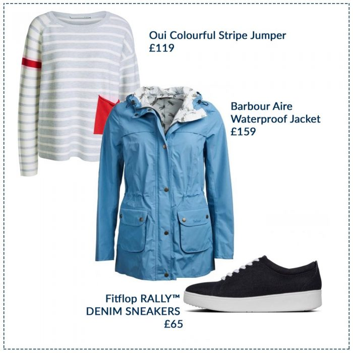 Oui Colourful Stripe Jumper £119, Barbour Aire Waterproof Jacket £159, Fitflop RALLY DENIM SNEAKERS £65