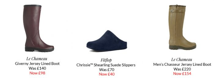 Sample Deals from Le Chameau and Fitflop.