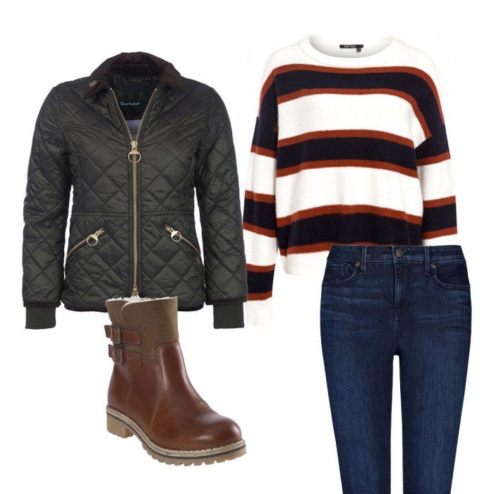 Barbour Coat, Marc Aurel Jumper, Smila Boots, NYDJ Jeans