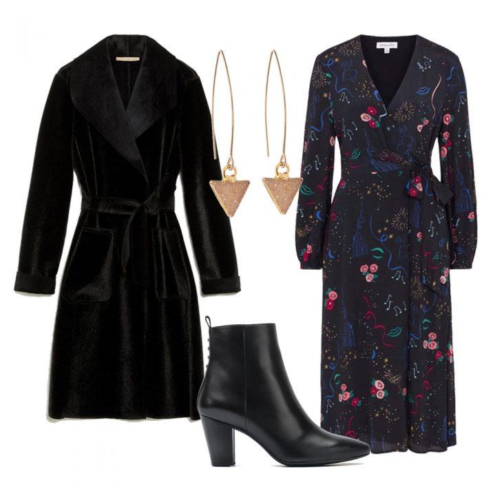 Pennyblack Coat, Emily & Finn Dress, Unisa Boots and Decadorn Earrings
