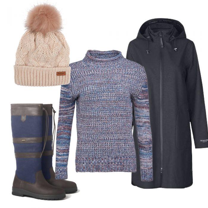 Ilse Jacobsen Coat, Barbour Jumper, Barbour Hat and Dubarry Boots