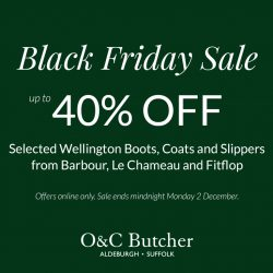 Black Friday Sale Up to 40% off Selected Welling Boots, Coat and Slippers from Barbour, Le Chameau and Fitflop.