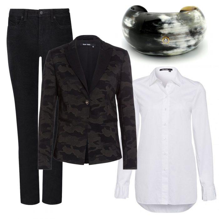 Marc Aurel Blazer and Shirt, NYDJ Velvet Trousers, My Doris Cuff