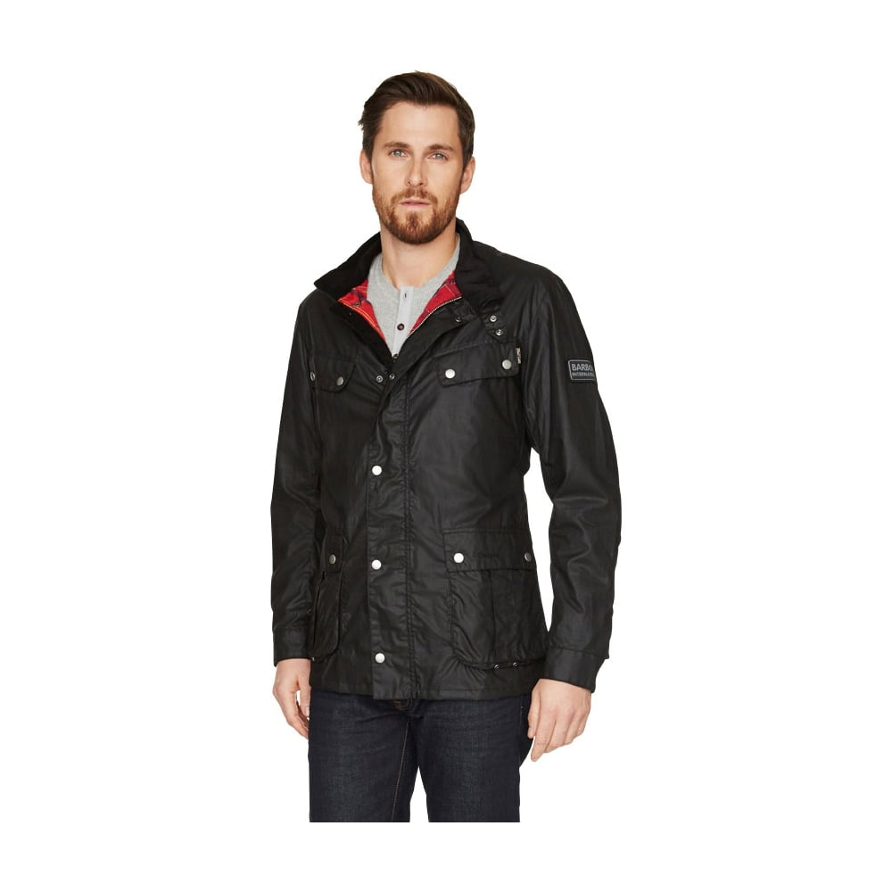 Barbour international oscar waxed jacket black