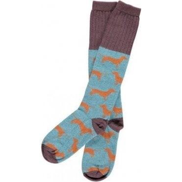 Lambswool Jade & Orange Sausage Dog Knee Socks