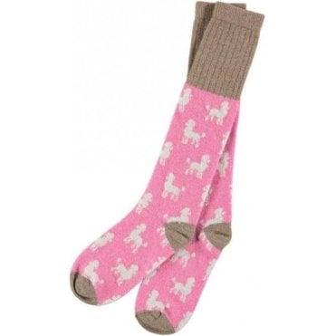 Lambswool Pink Poodle Knee Socks