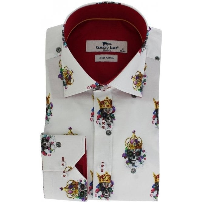 Claudio Lugli Skull & Crown On Solid Background Shirt