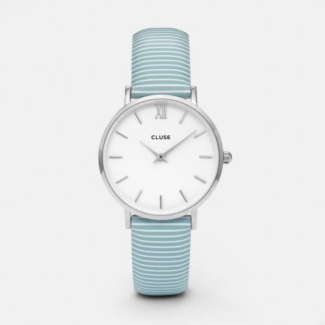 CLUSE Minuit Silver White/Sky Blue Stripes