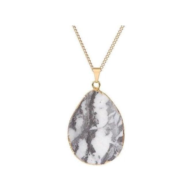 Decadorn Jasper Statement Black & White Pendant Necklace