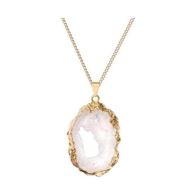Decadorn Semi Precious Geode Statement Pendant Necklace