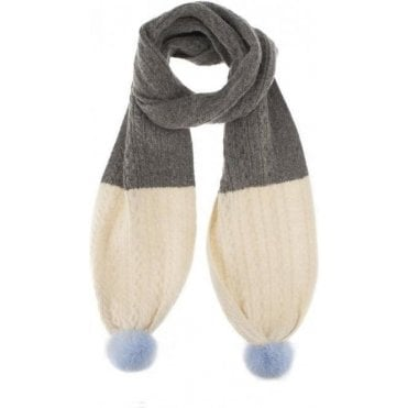 Cable Knit Scarf with Faux Fur Pom Poms