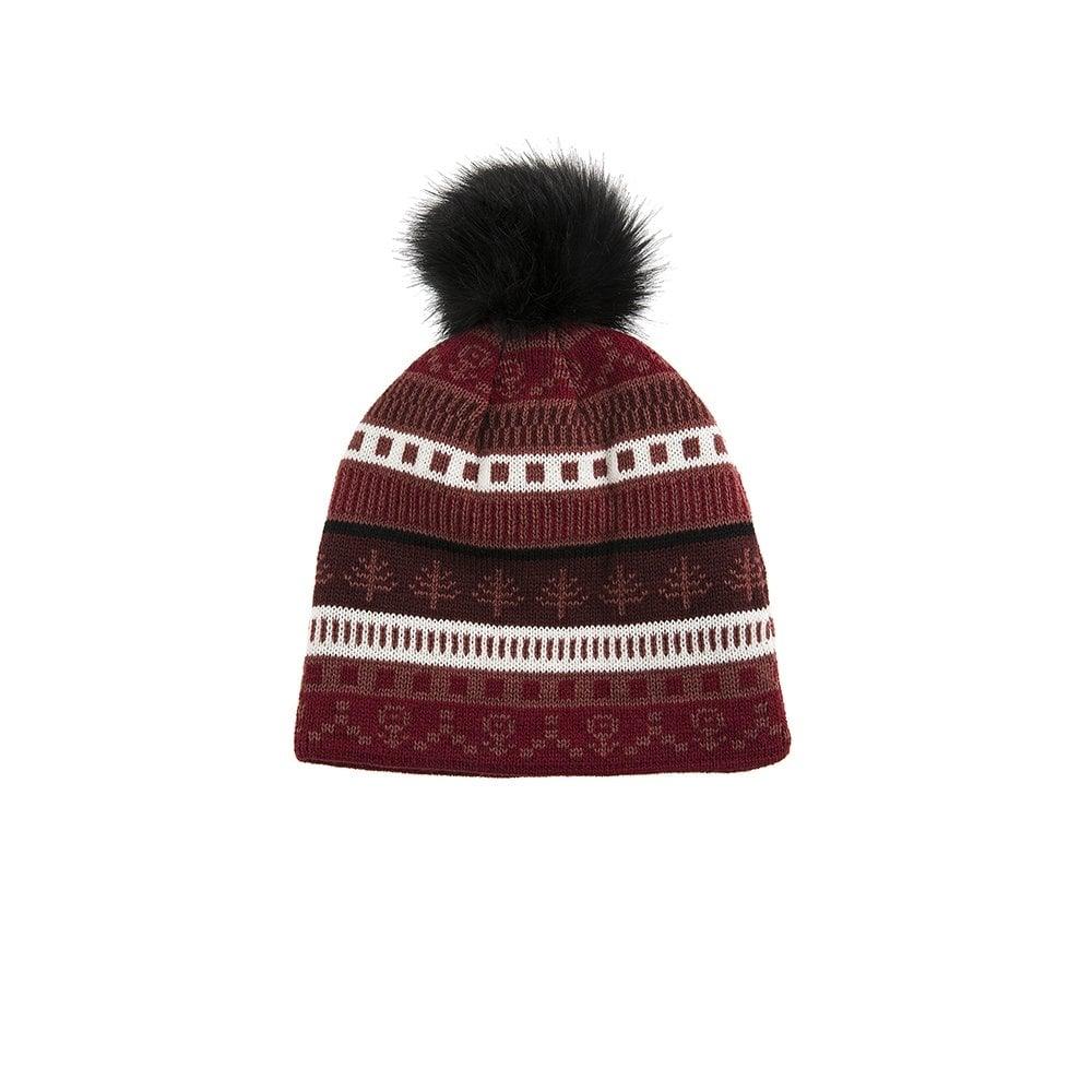 Dents Fairisle Knit Hat with Faux Fur Pom Pom - Womens Hats: O&C Butcher