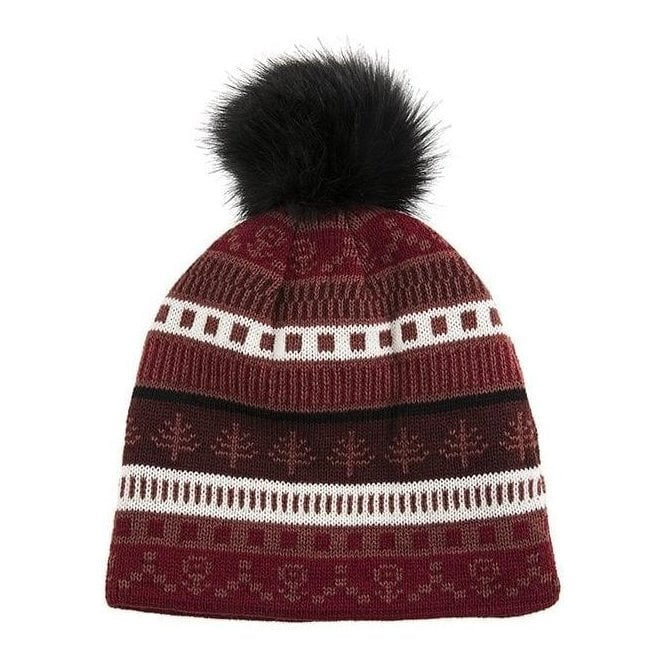 Dents Fairisle Knit Hat with Faux Fur Pom Pom