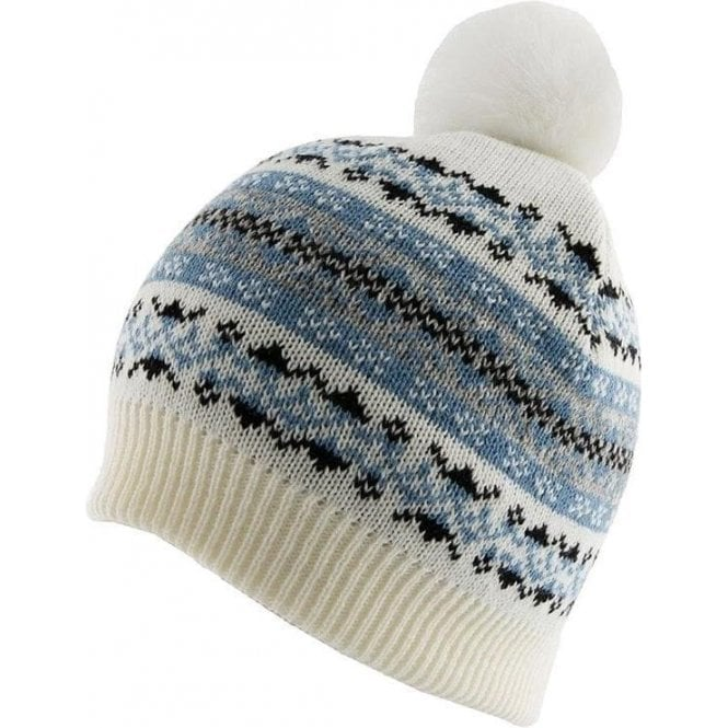 Dents Fairisle Print Knitted Beanie Hat with Pom Pom
