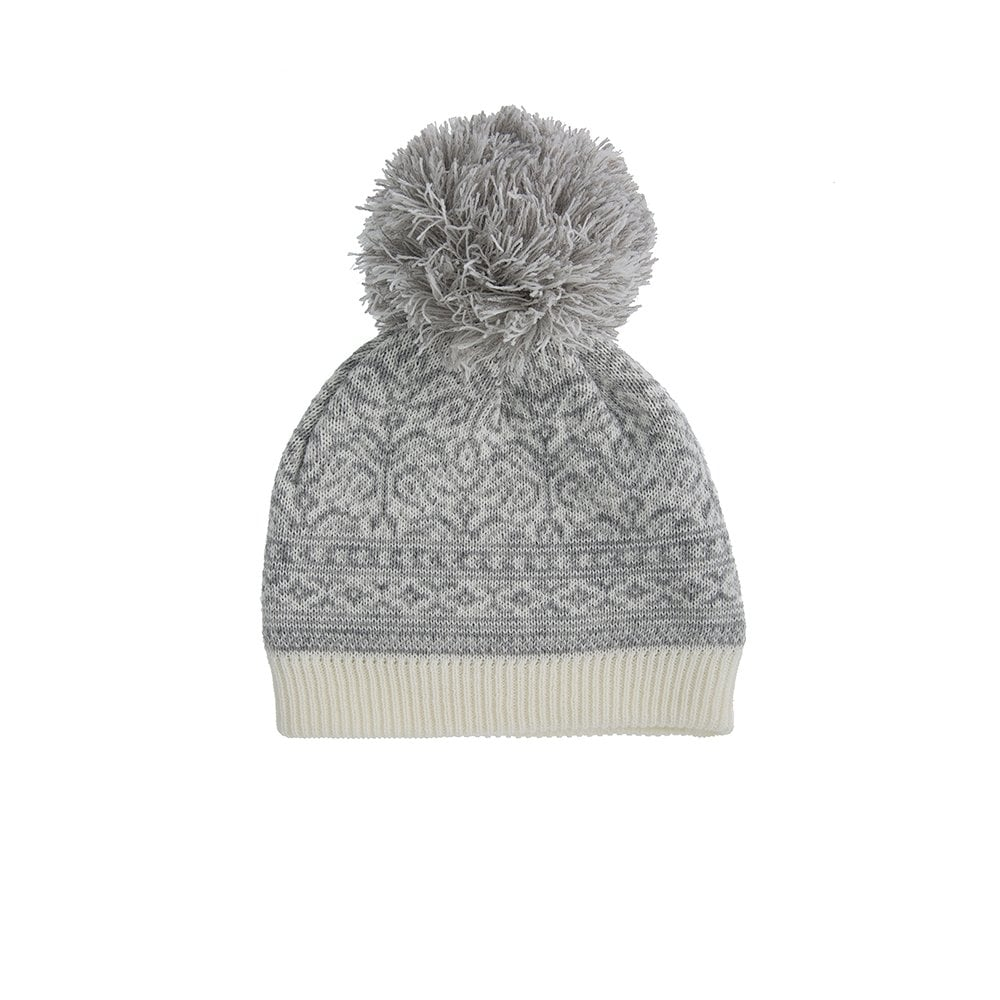 Dents Knitted Nordic Pattern Hat with Pom Pom