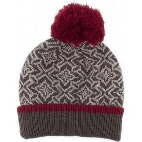 Nordic Pattern Knit Pom Pom Hat