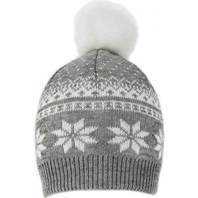 Dents Snowflake Pattern Knitted Hat with Faux Fur Pom Pom