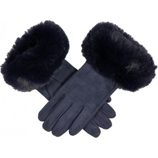 Dents Women's Touchscreen Faux Suede Gloves with Faux Fur Cuffs