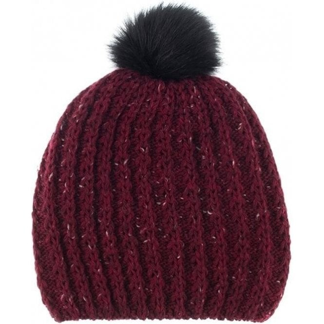 Dents Wool Blend Cable Marl Knit Hat with Faux Fur Pom Pom
