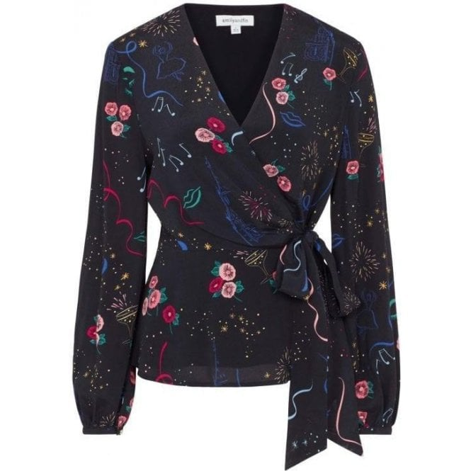 Emily and Fin Luna Party Print Wrap Top