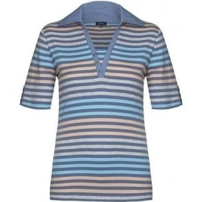 100% Cotton Summer Multi-stripe Polo Shirt with Contrast Collar