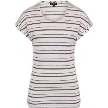 100% Linen Stripe Top With Sequins