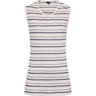 100% Linen Stripe Vest Top