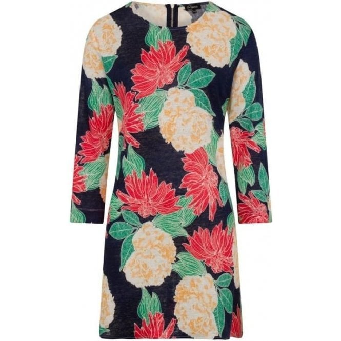 Emreco 3/4 Sleeve Floral 100% Linen Tunic
