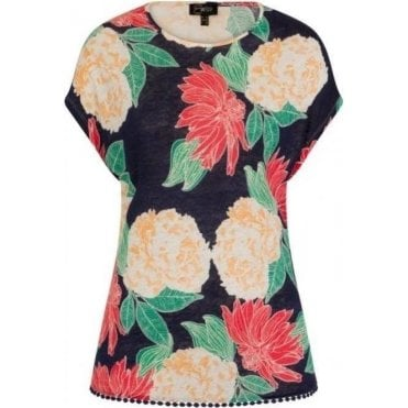 Floral Printed Top With Lace Trim