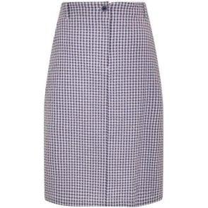 Gingham Knee Length Seersucker Skirt