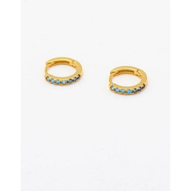 Estella Bartlett Hoop Earrings with Ombre Blue CZ
