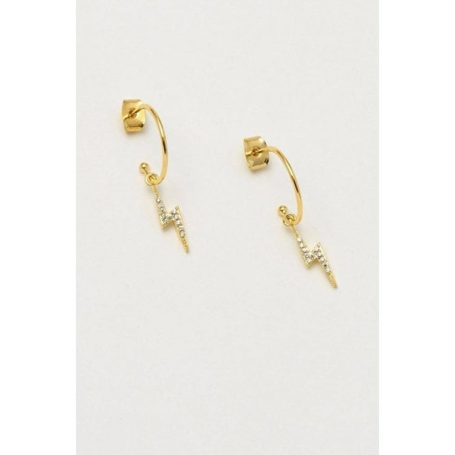 Estella Bartlett Lightning Bolt Drop Hoop Earrings