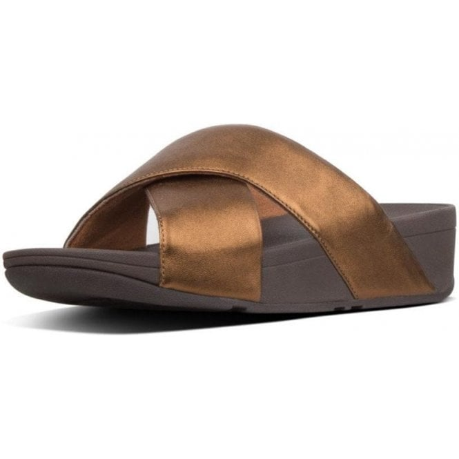 Fitflop LULU™ METALLIC LEATHER CROSS SLIDES