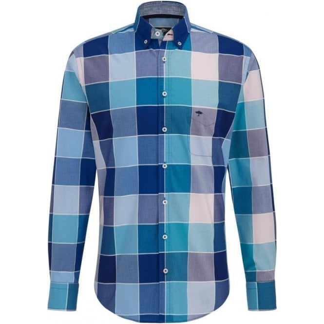Fynch Hatton Check Shirt with Button-down Collar