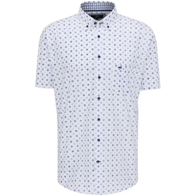 Fynch Hatton Patterned Short-Sleeved Cotton Shirt