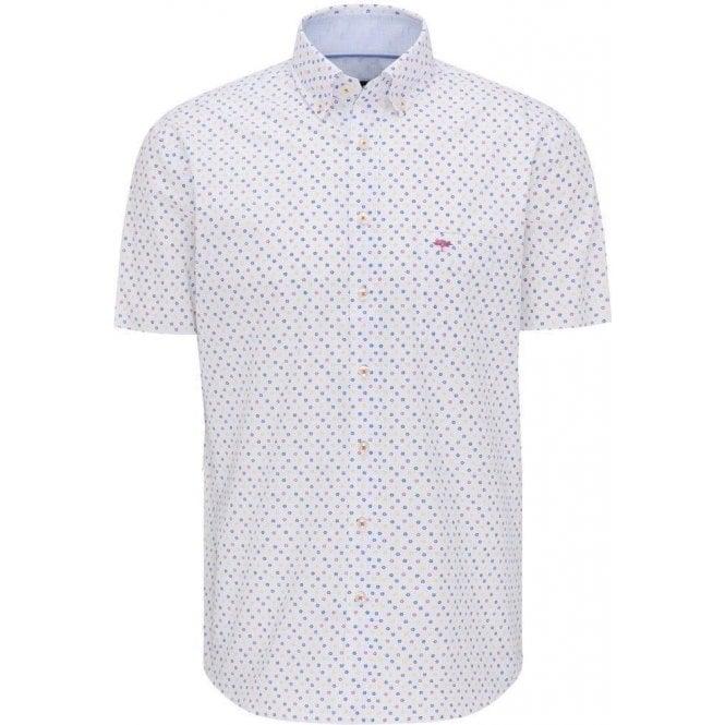 Fynch Hatton Printed Cotton Short Sleeve Shirt