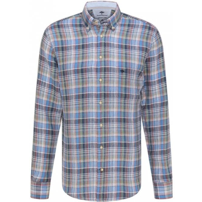 Fynch Hatton Pure Linen Casual Fit Checked Shirt