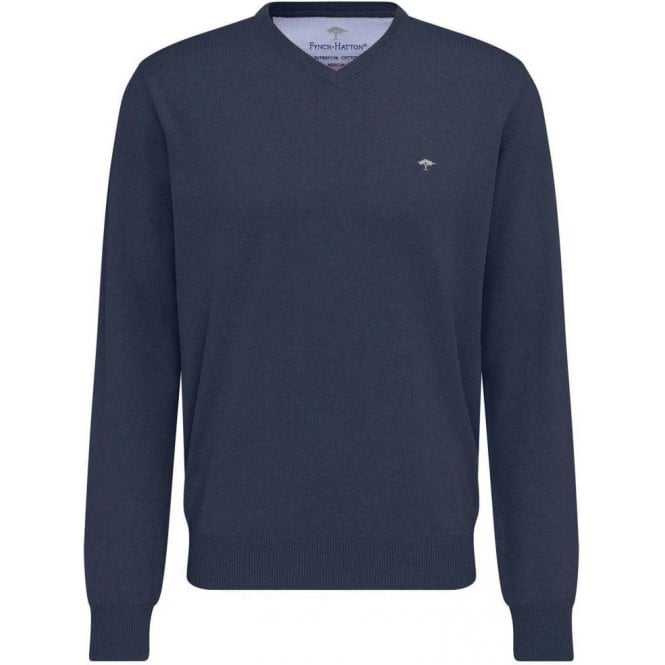 Fynch Hatton V-Neck Finely Knitted 3-Ply Cotton Sweater