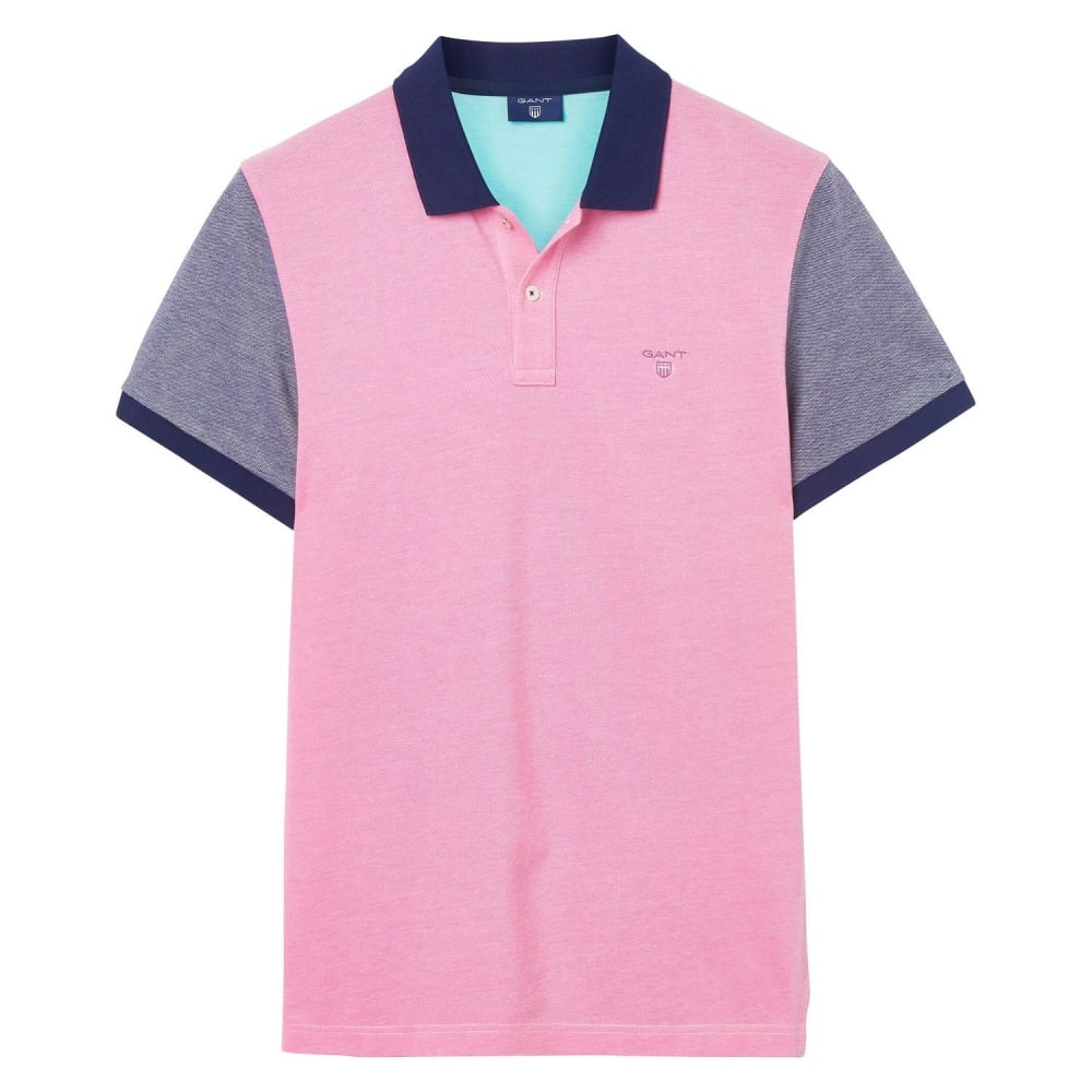 Gant color block oxford polo shirt mens tops t shirts for Polo color block shirt