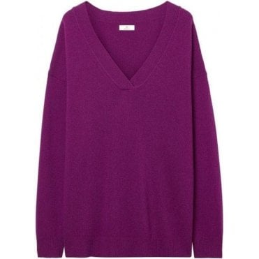Diamond G Lambswool Cashmere V-Neck Sweater