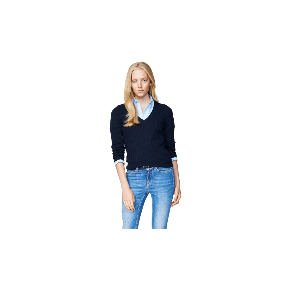 31e94a7739b145 Lambswool Cable V-Neck Jumper - GANT Women's Knitwear: O&C Butcher