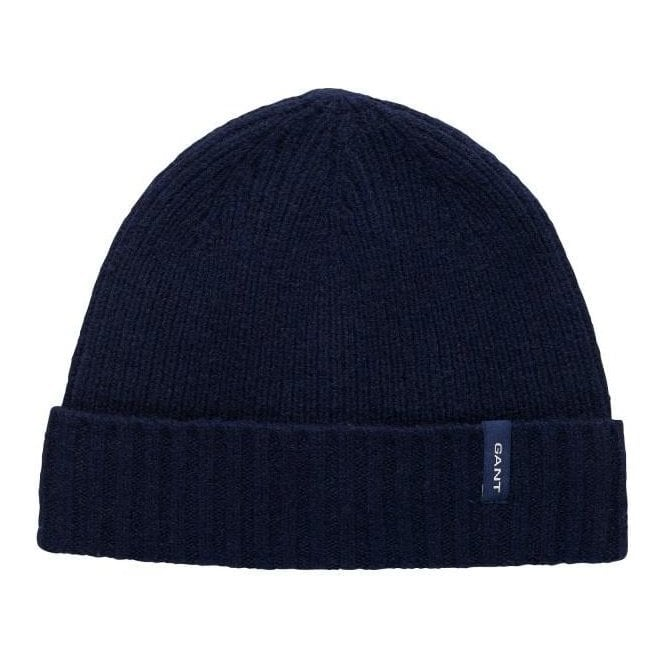 GANT Lambswool Rib Knit Beanie With Fleece