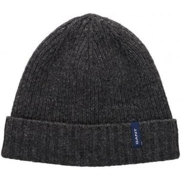 Lambswool Rib Knit Beanie With Fleece