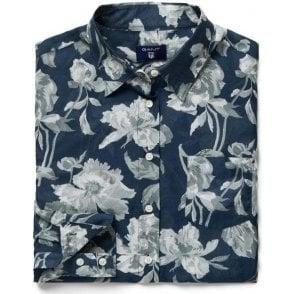 Monochrome Flower Print Voile Shirt