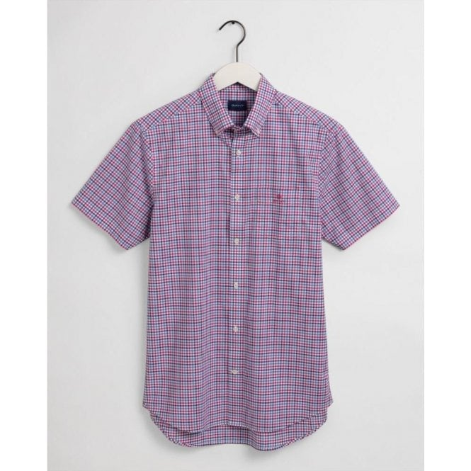 GANT Regular Fit Short Sleeve 3-Color Gingham Broadcloth Shirt